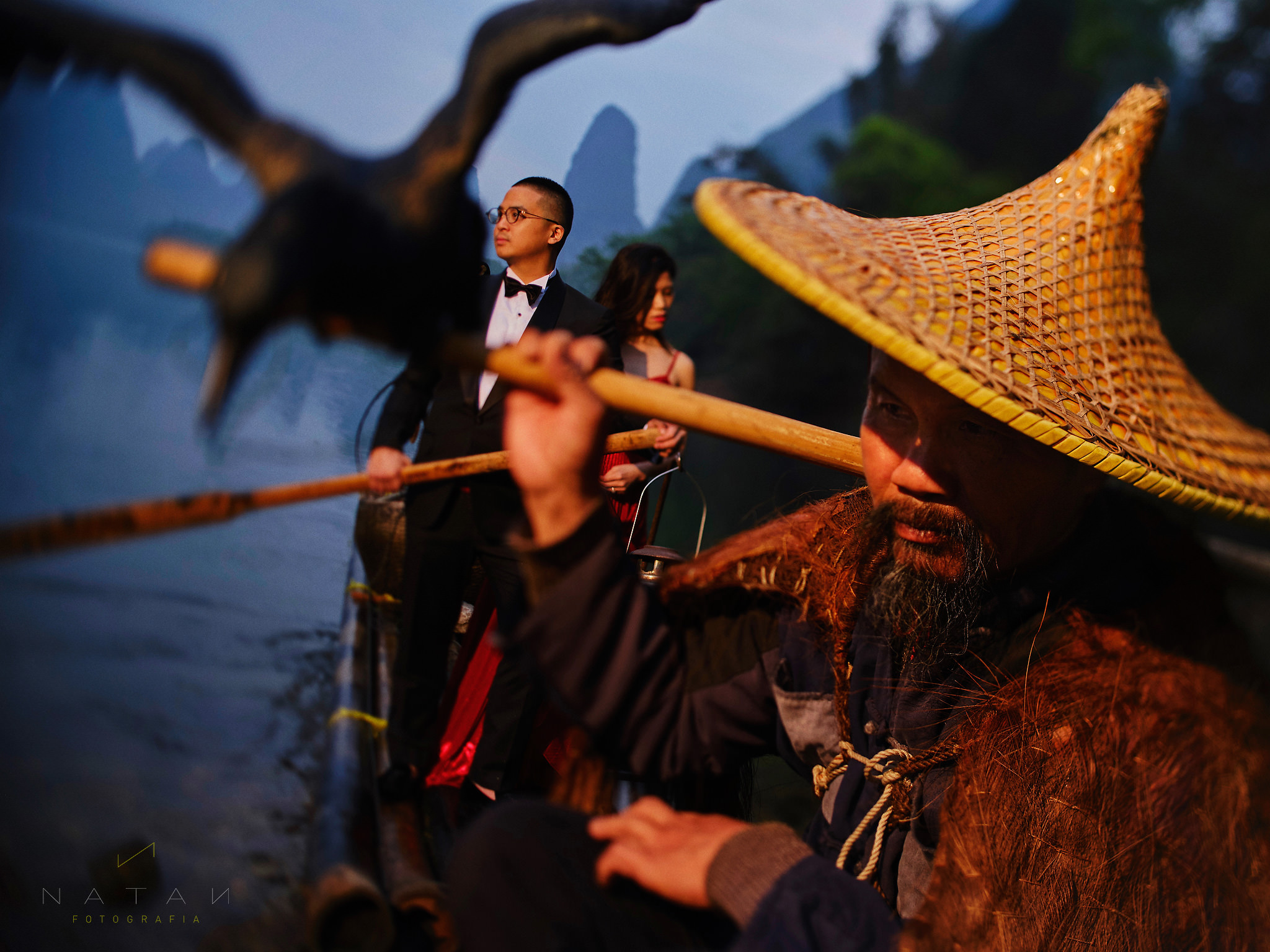Fisherman in Guilin, China, with Bride and groom, Wedding elopement in Asia
