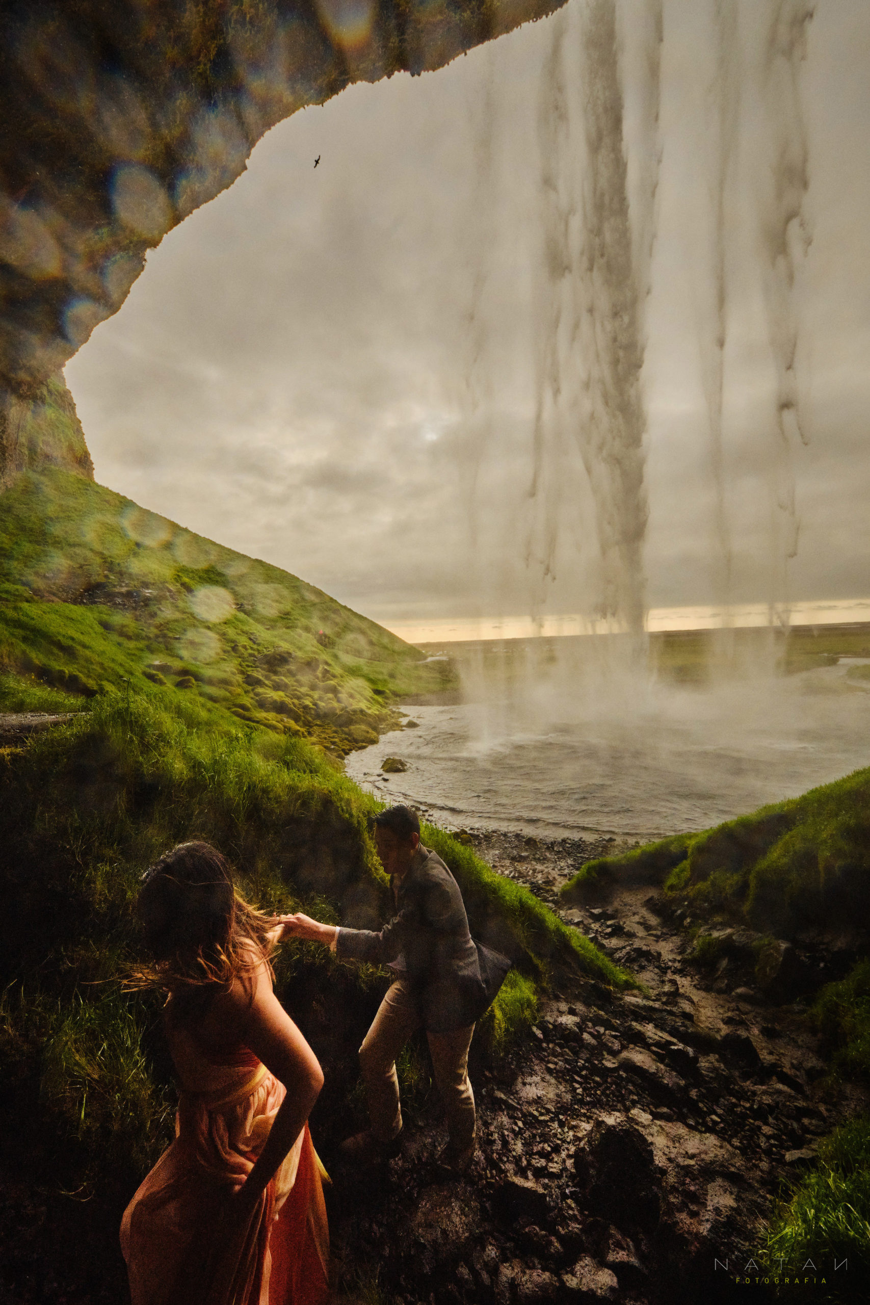 Waterfall in Iceland, Elopement photographer