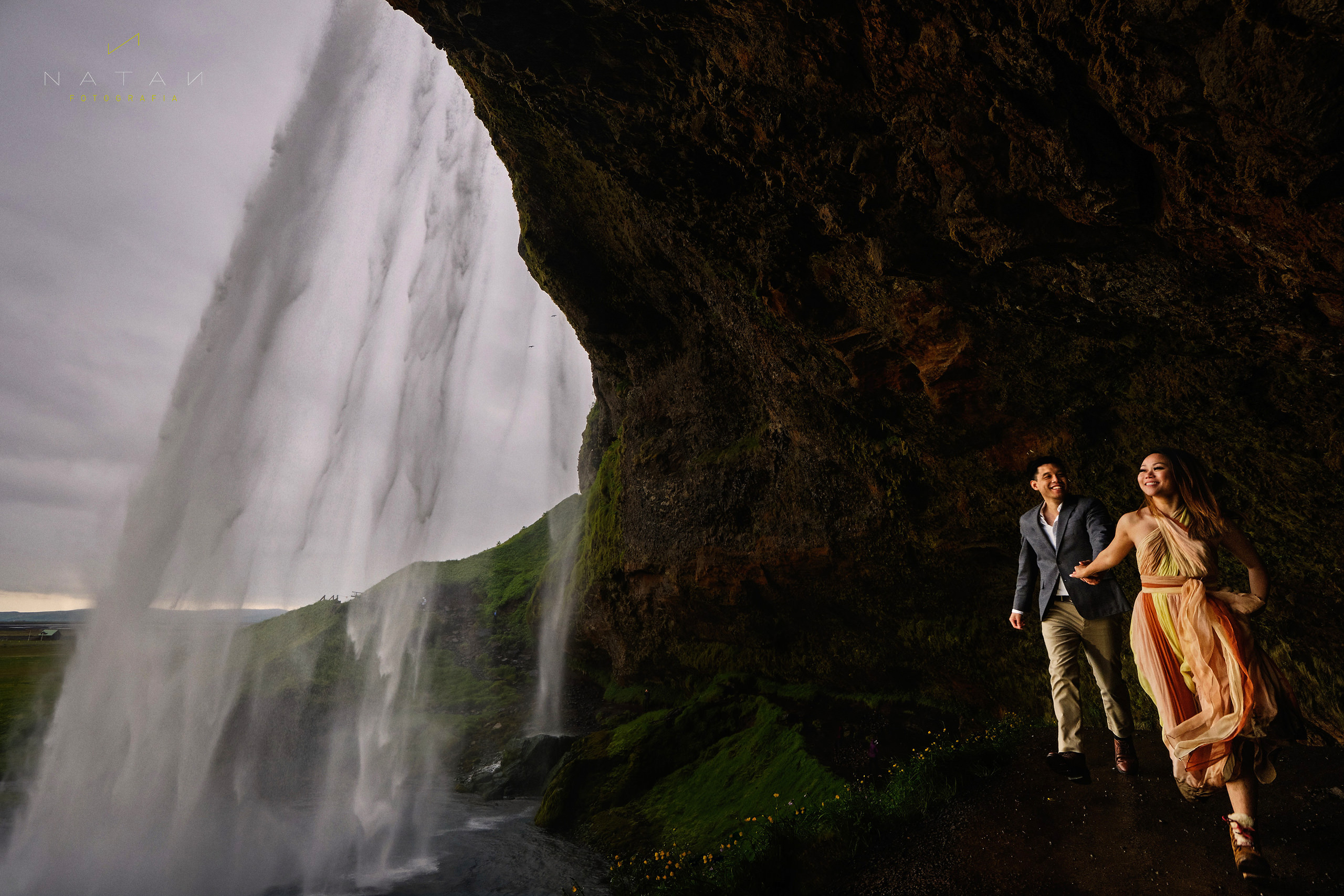 Waterfall couple photography in Iceland