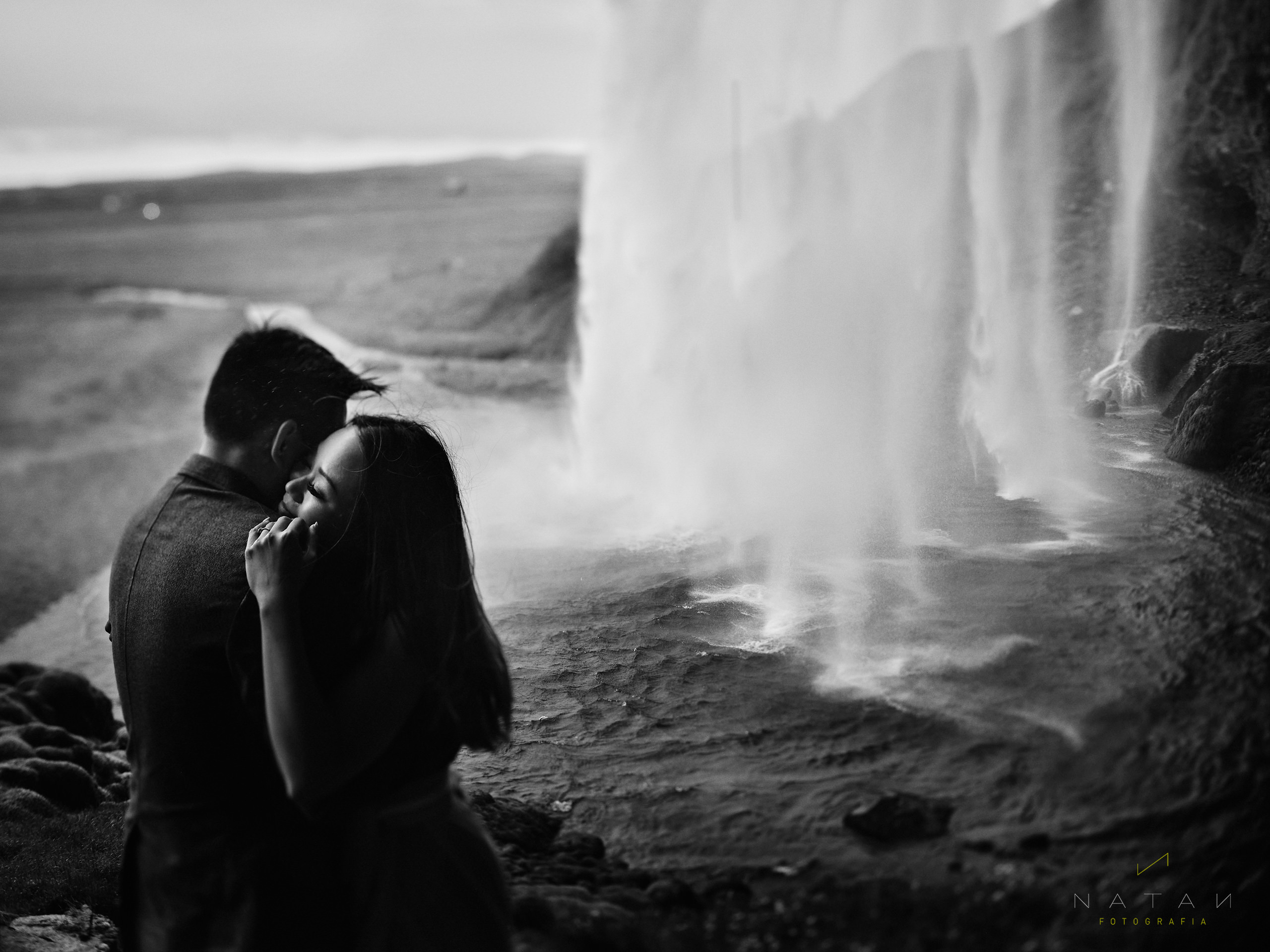 Iceland Elopement Photographer - Couple in a Waterfall