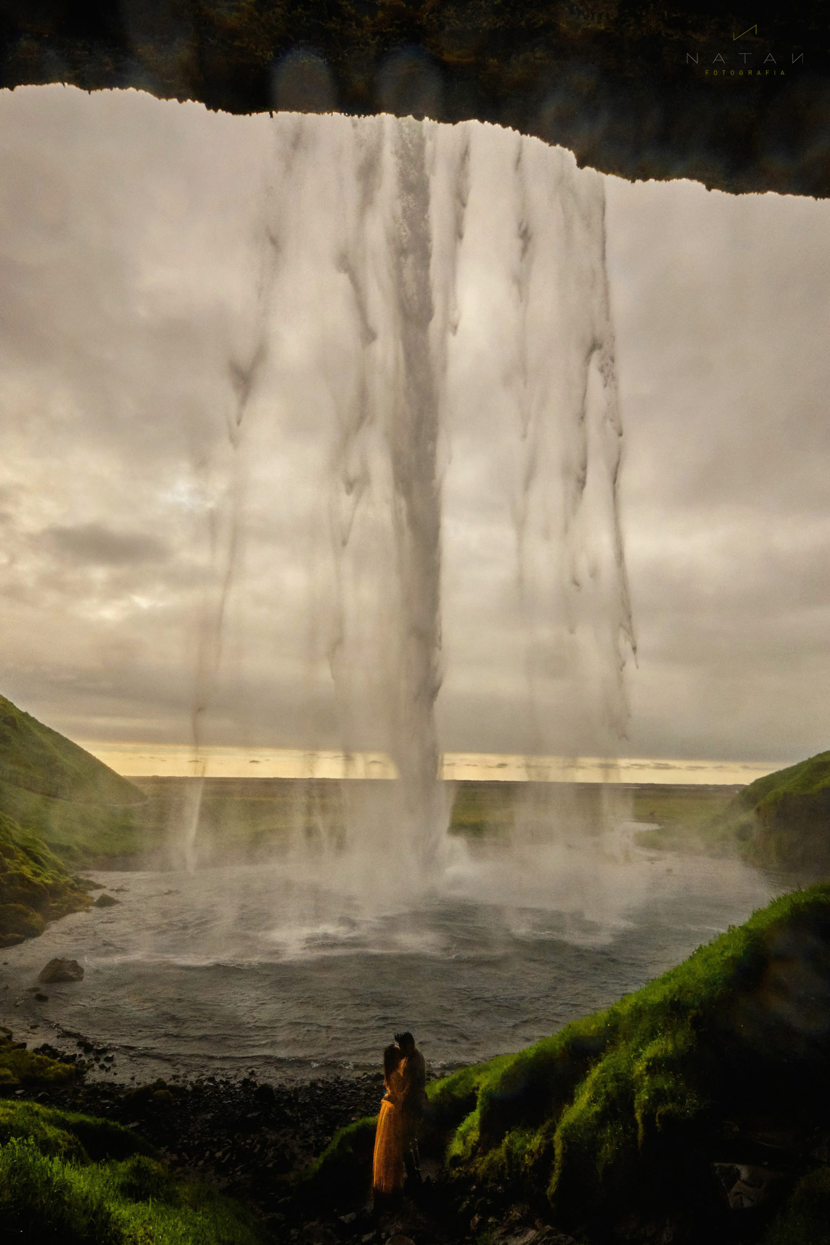 Couple love in Iceland Waterfall